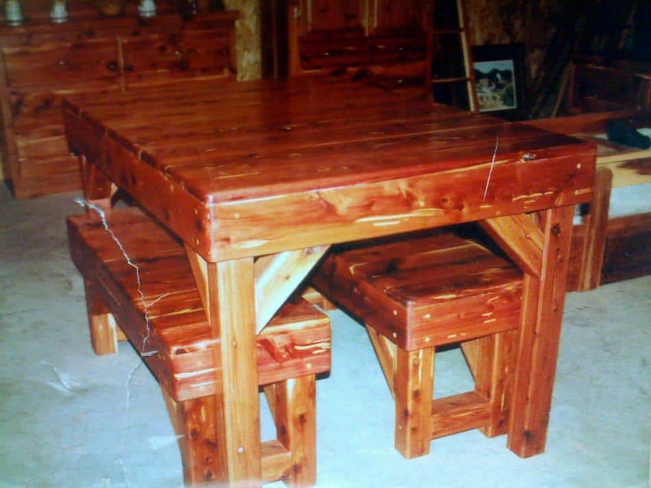 Aromatic Red Cedar Table & Bench