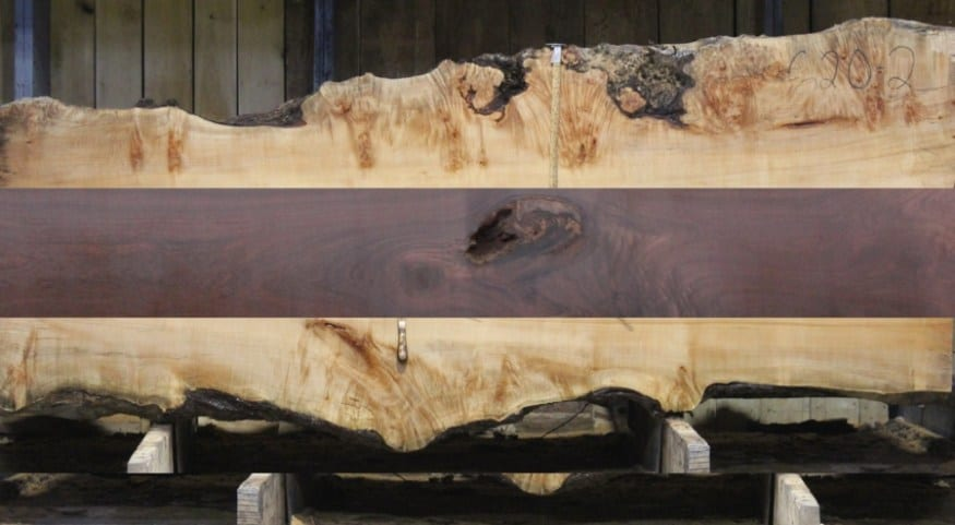 Curly Maple with Walnut Stripe: Slabs in stock to achieve this look. Made to your specs!