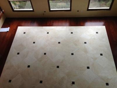 Sapele Floor with Honed Travertine Inlay