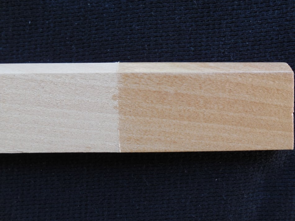Alder before and after Clear Satin Finish