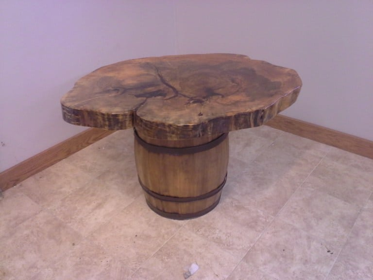 Highly Figured Maple Coffee Table with Reclaimed Barrel Base