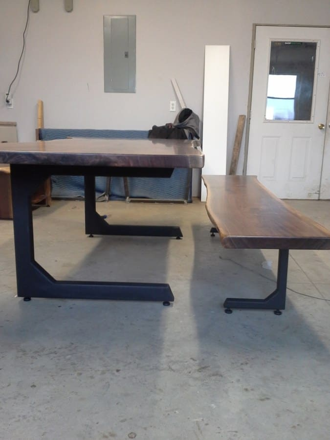 Napoli Table and Bench Base painted black