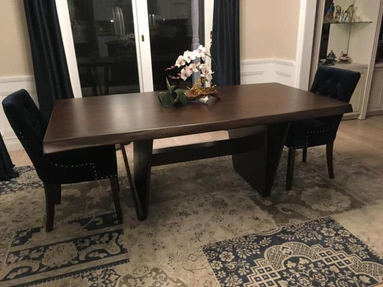Live Edge Walnut Table with Vancouver Base stained with Sherwin Williams #3212 Dark Oak Stain and 3 coats of Conversion Varnish – Thanks Joanne!