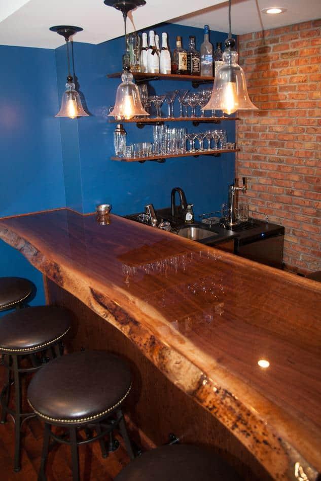 Walnut Live Edge Slab Bar Top