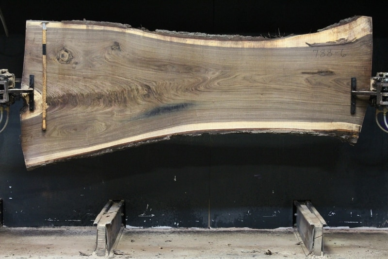 slab 788-6, rough size 2.5″ x 29″-46″ (avg. 31″) x 9′ $1300