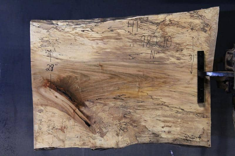 slab 982-10 Narrow Side. Surfaced size 1.38″ x 28-32″ avg. 29″ x  3′ $395