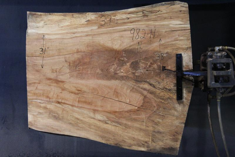 slab 982-11 Narrow Side. Surfaced size 1.25″ x 30-39″ avg. 35″ x  3′ $395