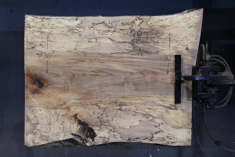 slab 982-6 Narrow Side. Surfaced size 1.5″ x 29-33″ avg. 31″ x  3′ $395