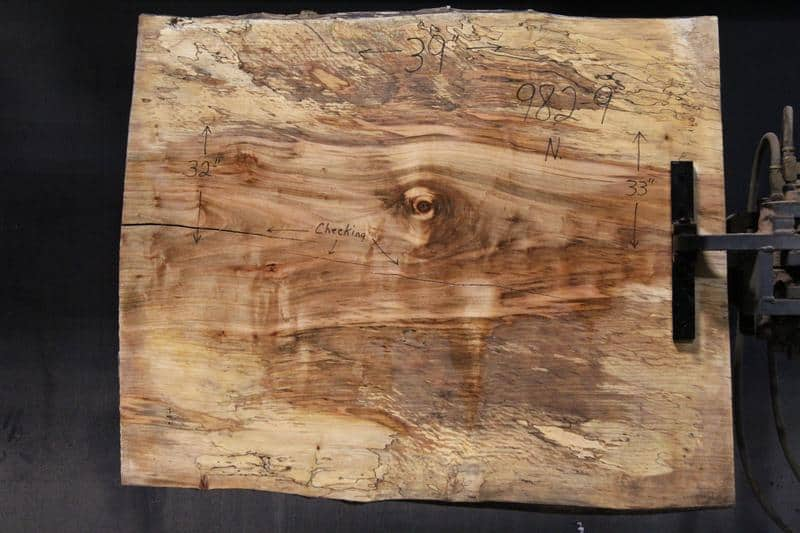 slab 982-9 Narrow Side. Surfaced size 1.5″ x 31-33″ avg. 32″ x  3′ $395