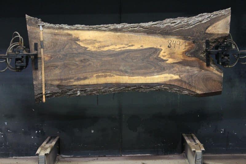 Walnut Slab 849-1, rough size  2.5″ x 14-25″ avg. 22″ x 7′ $825