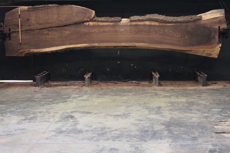 Walnut Slab 813-2, rough size  2.5″ x 23-49″ avg. 28″ x  18′ $2000