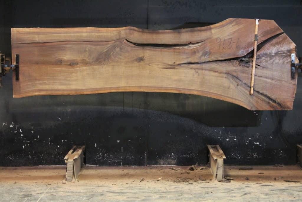 Walnut Slab 968-6,  rough size 2″ x 30-43″ avg. 33″ x  11′ $950