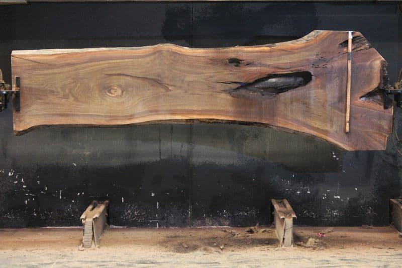 Walnut Slab 968-9,  rough size 2″ x 25-42″ avg. 28″ x  11′ $800