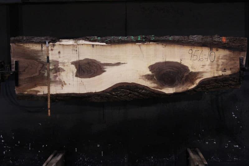 Walnut Slab 956-10,  rough size 2.5″ x 12-24″ avg. 19″ x 9′ $625