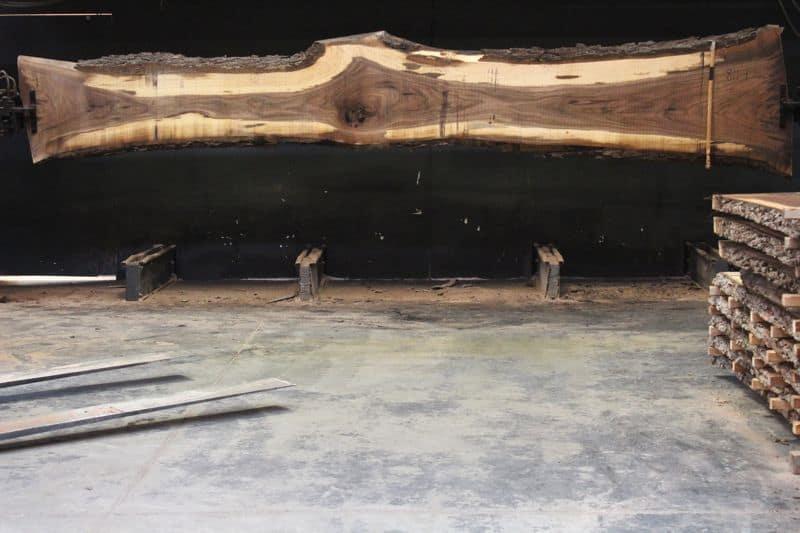Walnut Slab 811-9 rough size 2.5″ x 18-35″ avg. 22″ x  18′ $1400