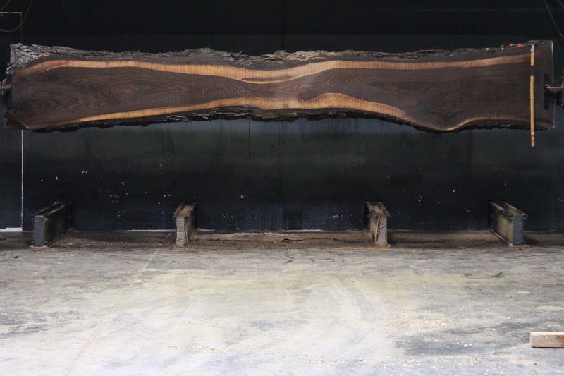 Walnut Slab 859-1,  rough size 2.5″ x 13-26″ avg. 20″ x  16′ $1100