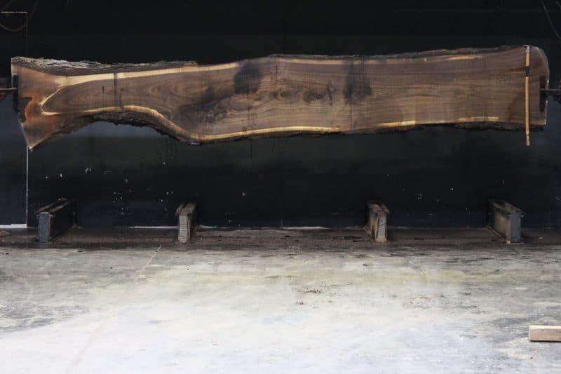 Walnut Slab 859-6,  rough size 2.5″ x 14-28″ avg. 23″ x  16′ $1375
