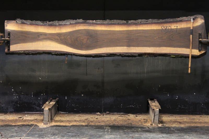 Walnut Slab 880-7, rough size 2.5″ x 15-23″ avg. 18″ x  10′ $800