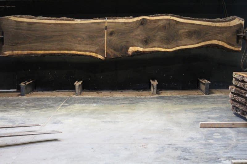 Walnut Slab 889-7, rough size 2.5″ x 19-36″ avg. 29″ x  18′ $2400