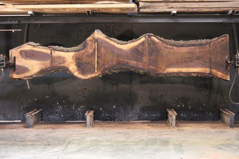 Walnut Slab 926-8, rough size 2.5″ x 11-38″ avg. 22″ x  15′ $1250