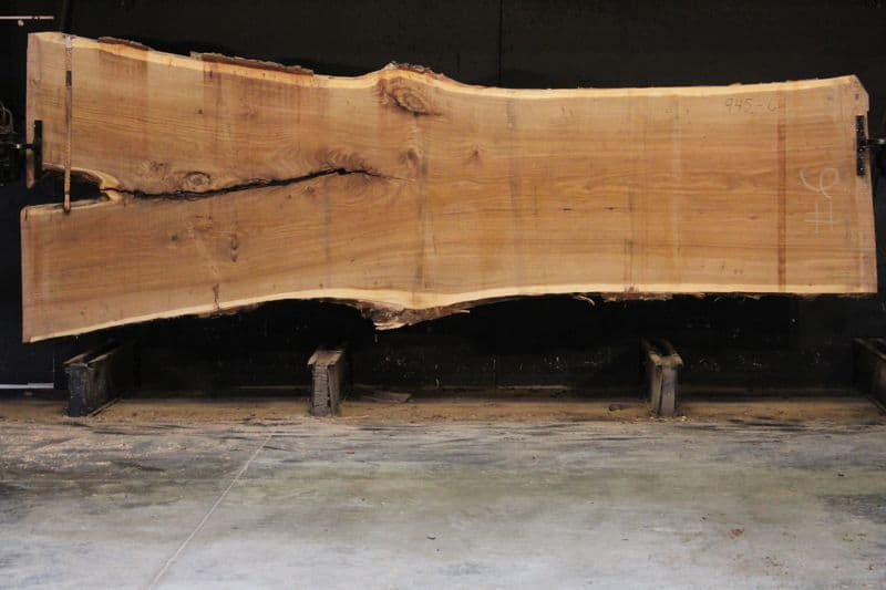 Siberian Elm Slab 945-6, rough size 2.5″ x 41-61″ avg. 43″ x 14′ $2250
