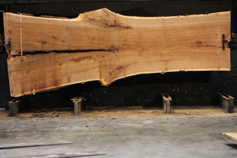 Siberian Elm Slab 945-8, rough size 2.5″ x 42-65″ avg. 48″ x 14′ $2400