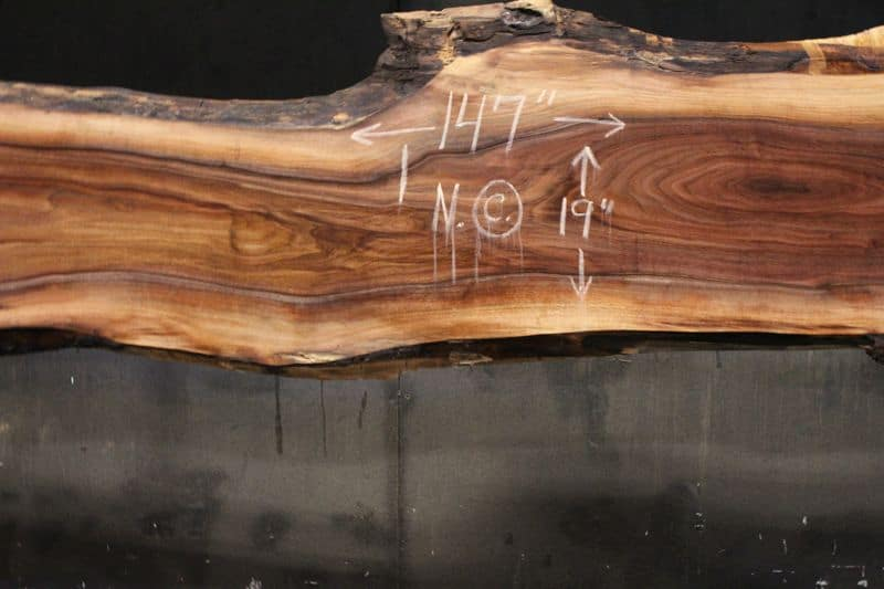 surfaced walnut slab 831-8 narrow face, center closeup