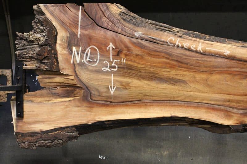 surfaced walnut slab 831-8 narrow face, left side closeup