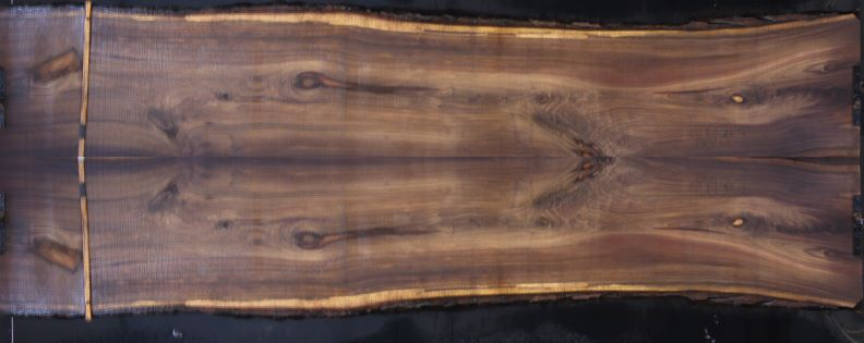 walnut slabs 1003-1&2 bookmatch simulation, approx. size 2″ x 55″ x 14′ Both Rough Slabs $3200