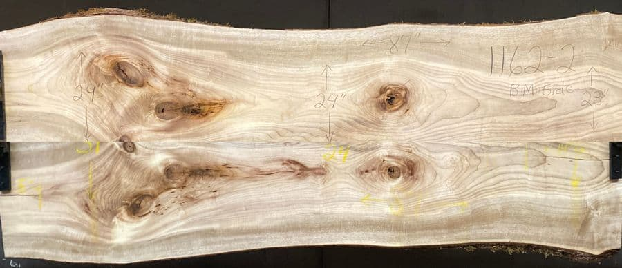 myrtlewood slabs 1162-1&2 bookmatch simulation, approx. size 1.875″ x 36″ x 87″ Both Surfaced Slabs $1850
