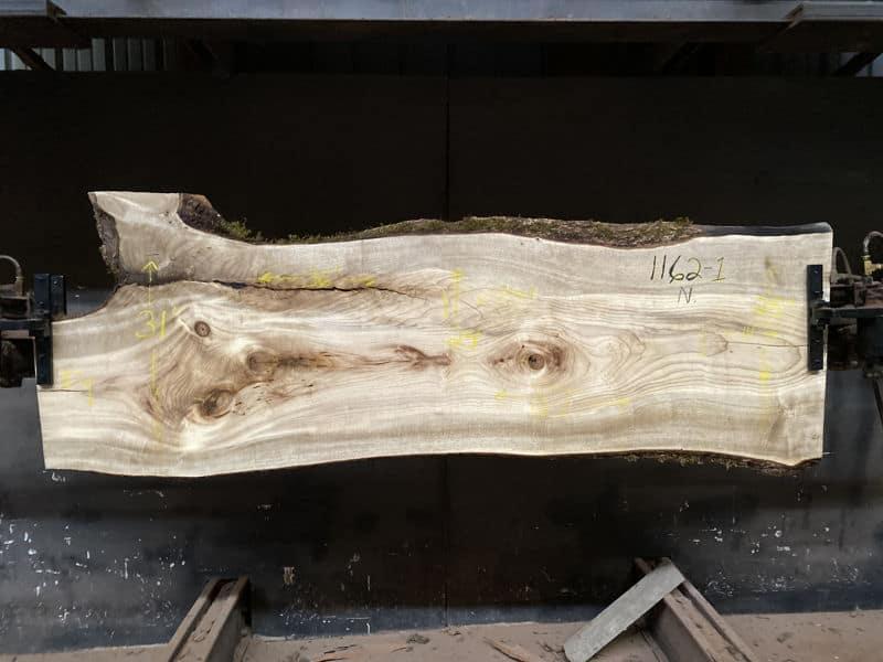 Myrtlewood Slab 1162-1, Surfaced size 1.875″ x 23-31″ avg. 25″ x  87″
