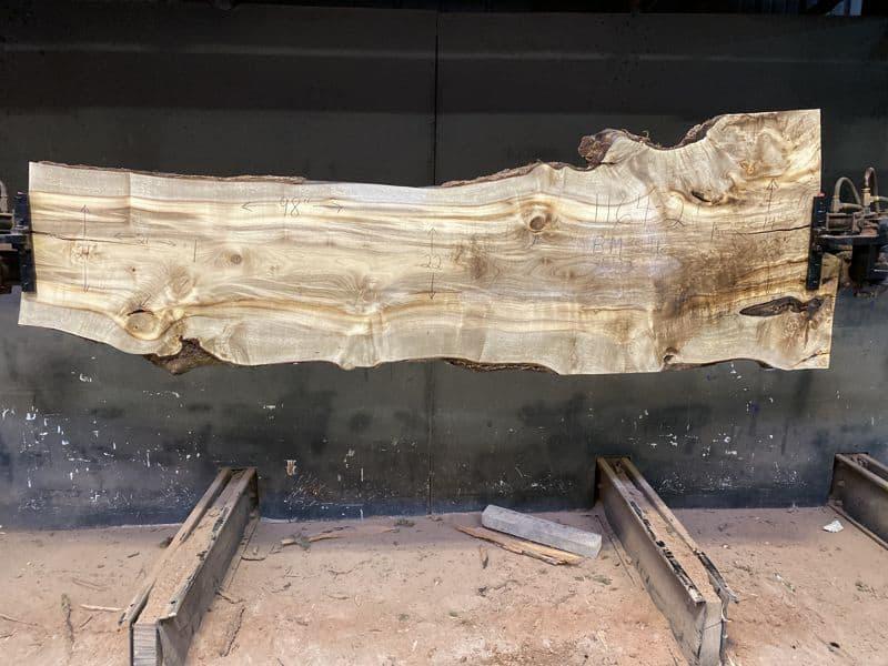 Myrtlewood Slab 1164-2, Surfaced size 1.75″ x 20-32″ avg. 25″ x  98″