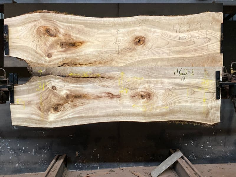 myrtlewood slabs 1162-1&2 bookmatch simulation, approx. size 1.875″ x 48″ x 87″ Both Surfaced Slabs $1850