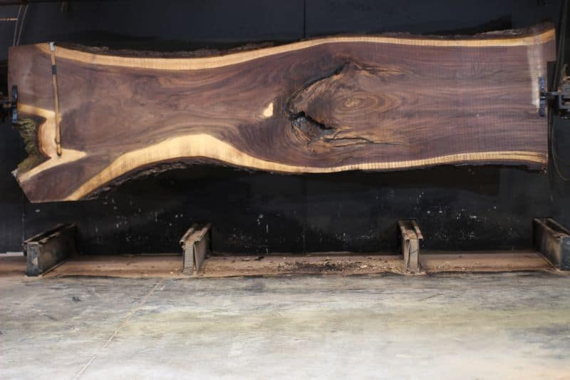 Walnut Slab 1025-1, rough size 2.5″ x 31-50″ avg. 39″ x 14′ $2400