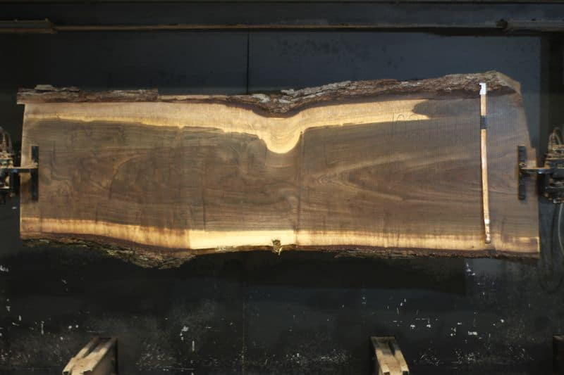 Walnut Slab 1029-2, rough size 2.5″ x 28-35″ avg. 26″ x 9′