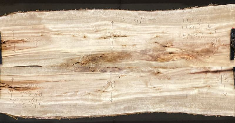 myrtlewood slabs 1162-1&2 bookmatch simulation, approx. size 1.75″ x 37″ x 91″ Both Surfaced Slabs $1850