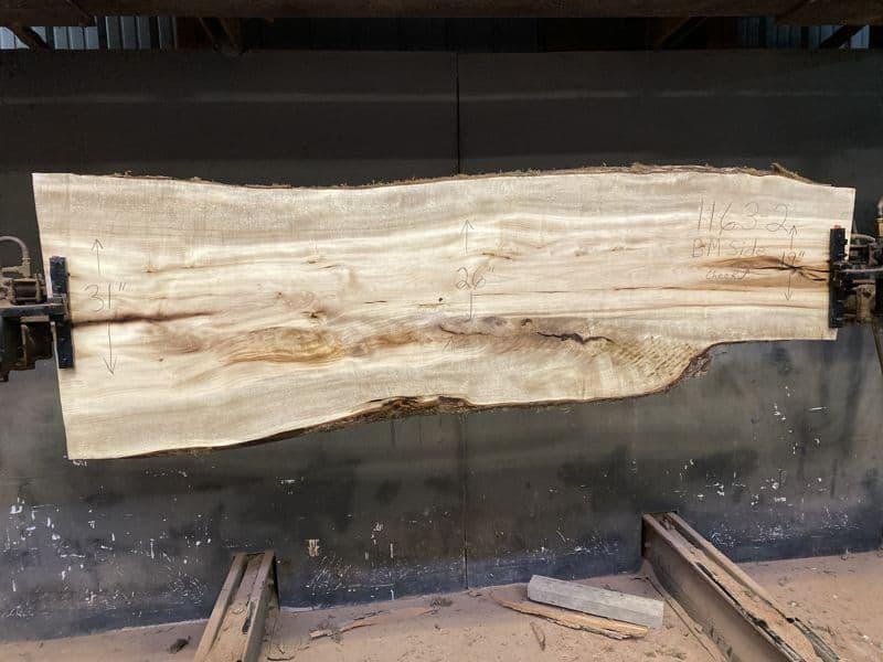 Myrtlewood Slab 1163-2, Surfaced size 1.75″ x 19-31″ avg. 26″ x  91″
