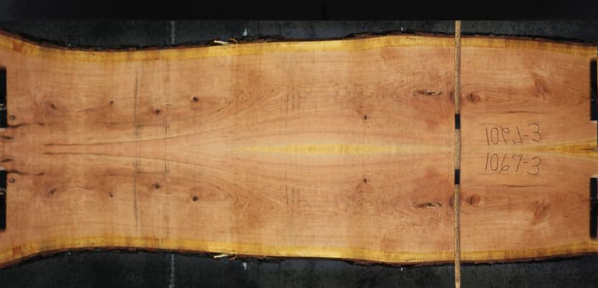 Simulated Book-match of Cherry slabs 1067-2&3 approximate finished size 1.75″ x  40″ x 10′ both rough slabs $1450